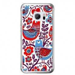 Etui na telefon HTC 10 - łowickie wzory ptaszki.