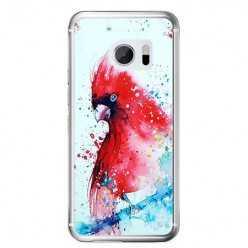 Etui na telefon HTC 10 - czerwona papuga watercolor.