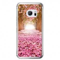Etui na telefon HTC 10 - różowe liście w parku.