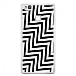 Etui na telefon Huawei P9 Lite - czarno - biały Zyg Zag.