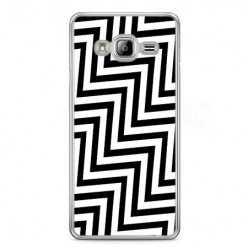 Etui na telefon Samsung Galaxy S7 - czarno - biały Zyg Zag.
