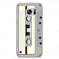 Etui na telefon Samsung Galaxy S7 - kaseta retro - biała.