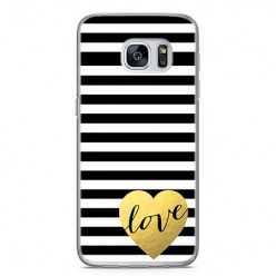 Etui na telefon Samsung Galaxy S7 - złote LOVE.