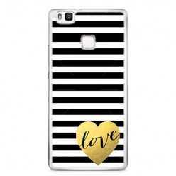 Etui na telefon Huawei P9 Lite - złote LOVE.