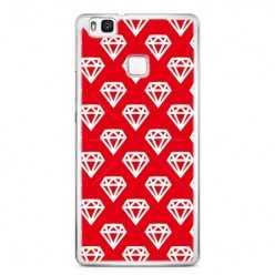 Etui na telefon Huawei P9 Lite - czerwone diamenty.