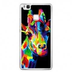 Etui na telefon Huawei P9 Lite - kolorowa żyrafa.