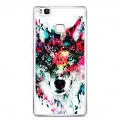 Etui na telefon Huawei P9 Lite - głowa wilka watercolor.