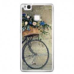 Etui na telefon Huawei P9 Lite - rower z kwiatami.