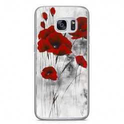 Etui na telefon Samsung Galaxy S7 - czerwone kwiaty maki.