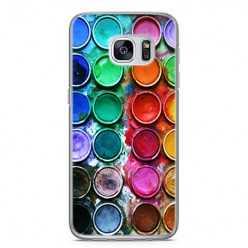 Etui na telefon Samsung Galaxy S7 - kolorowe farbki plakatowe.