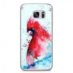 Etui na telefon Samsung Galaxy S7 - czerwona papuga watercolor.