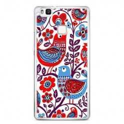 Etui na telefon Huawei P9 Lite - łowickie wzory ptaszki.