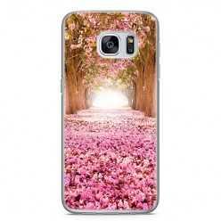 Etui na telefon Samsung Galaxy S7 - różowe liście w parku.