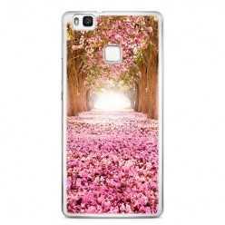Etui na telefon Huawei P9 Lite - różowe liście w parku.
