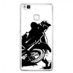 Etui na telefon Huawei P9 Lite - czarno biały motocykl.