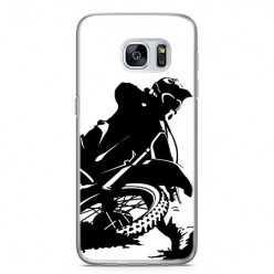 Etui na telefon Samsung Galaxy S7 - czarno biały motocykl.
