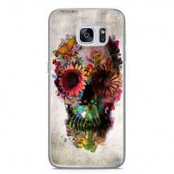 Etui na telefon Samsung Galaxy S7 - kwiatowa czaszka.