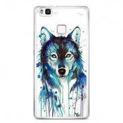 Etui na telefon Huawei P9 Lite - niebieski wilk watercolor.