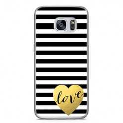 Etui na telefon Samsung Galaxy S7 Edge - złote LOVE.