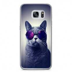 Etui na telefon Samsung Galaxy S7 Edge - kot w okularach galaktyka.