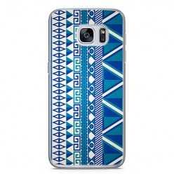 Etui na telefon Samsung Galaxy S7 Edge - niebieski wzór aztecki.