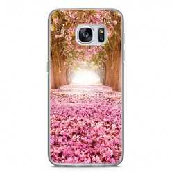 Etui na telefon Samsung Galaxy S7 Edge - różowe liście w parku.