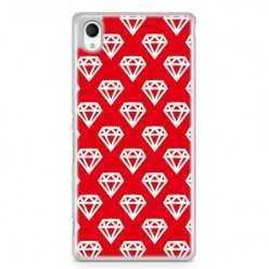 Etui na telefon Sony Xperia XA - czerwone diamenty.