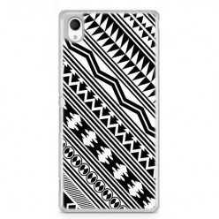 Etui na telefon Sony Xperia XA - biały wzór Aztecki.