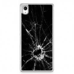 Etui na telefon Sony Xperia XA - czarna rozbita szyba.