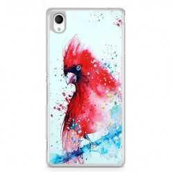 Etui na telefon Sony Xperia XA - czerwona papuga watercolor.