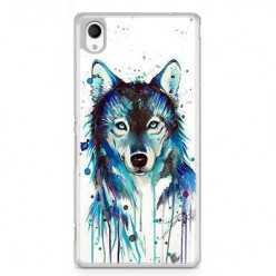 Etui na telefon Sony Xperia XA - niebieski wilk watercolor.