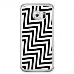 Etui na telefon Samsung Galaxy S6 - czarno - biały Zyg Zag.