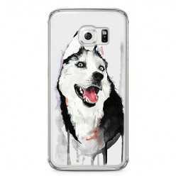 Etui na telefon Samsung Galaxy S6 - pies Husky watercolor.