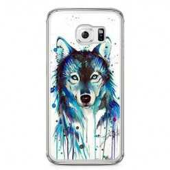 Etui na telefon Samsung Galaxy S6 - niebieski wilk watercolor.
