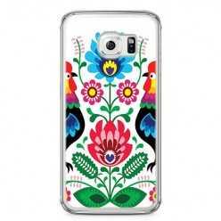 Etui na telefon Samsung Galaxy S6 - łowickie wzory kwiaty.