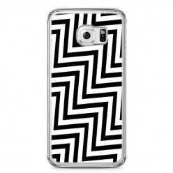Etui na telefon Samsung Galaxy S6 Edge - czarno - biały Zyg Zag.