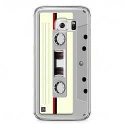 Etui na telefon Samsung Galaxy S6 Edge - kaseta retro - biała.