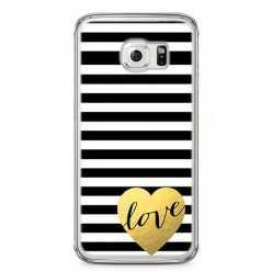Etui na telefon Samsung Galaxy S6 Edge - złote LOVE.