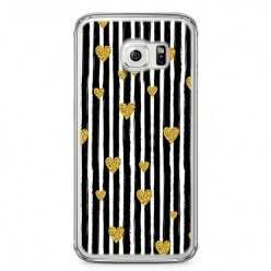 Etui na telefon Samsung Galaxy S6 Edge - złote serduszka.