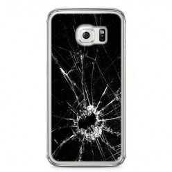 Etui na telefon Samsung Galaxy S6 Edge - czarna rozbita szyba.