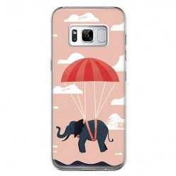 Etui na telefon Samsung Galaxy S8 - słoń na spadochronie.