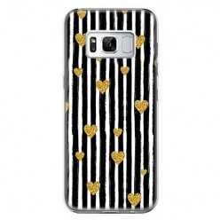 Etui na telefon Samsung Galaxy S8 - złote serduszka.