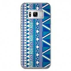 Etui na telefon Samsung Galaxy S8 - niebieski wzór aztecki.