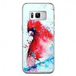Etui na telefon Samsung Galaxy S8 - czerwona papuga watercolor.
