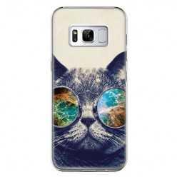 Etui na telefon Samsung Galaxy S8 Plus - kot hipster w okularach.