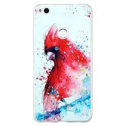 Etui na telefon Huawei P9 Lite 2017 - czerwona papuga watercolor.