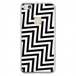 Etui na telefon Huawei P10 Lite - czarno - biały Zyg Zag.