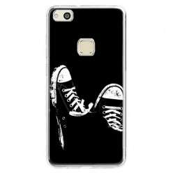 Etui na telefon Huawei P10 Lite - czarno - białe trampki.