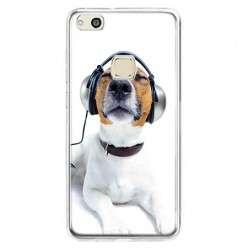 Etui na telefon Huawei P10 Lite - pies słuchający muzyki.