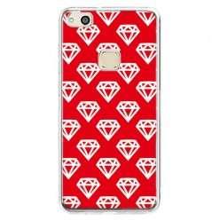 Etui na telefon Huawei P10 Lite - czerwone diamenty.